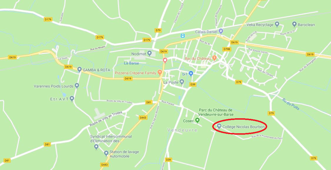 Localisation Collège Nicolas Bourbon